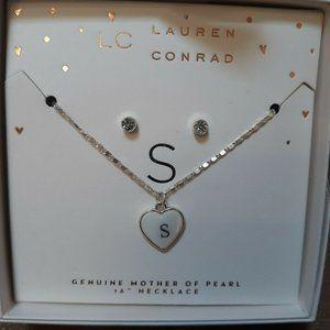 Lauren Conrad Mother Of Pearl Necklace & Earring